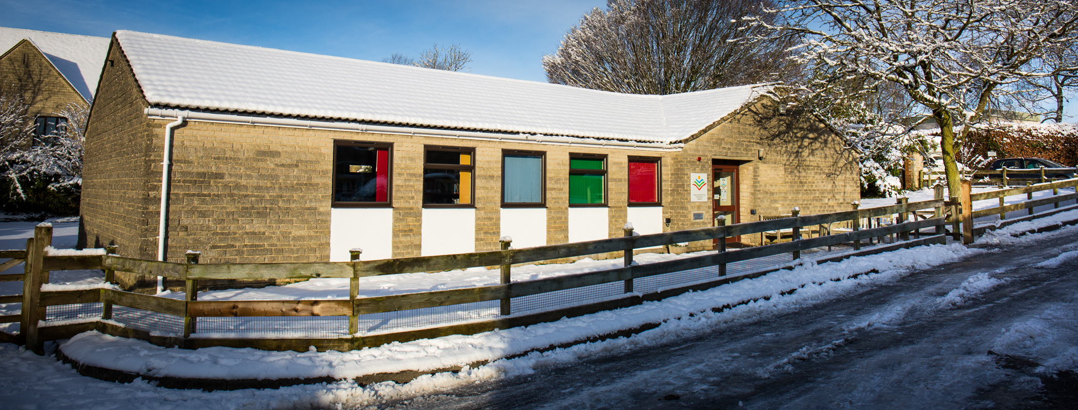 Minchinhampton Community Library in the snow